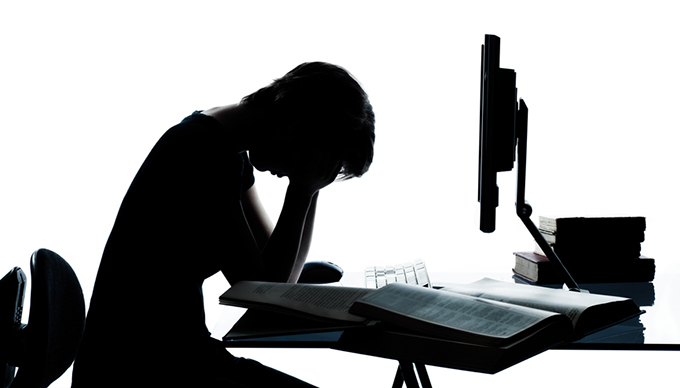 one young teenager boy girl silhouette studying with computer c